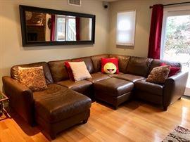 Brown leather sofa & ottoman