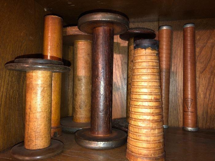 Vintage Industrial Sewing Textile Yarn Wood Thread Spools