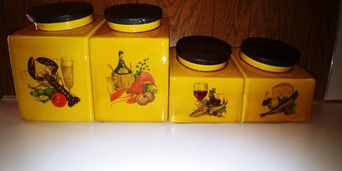 Vintage Hyalyn ceramic canisters
