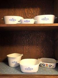 Vintage Corning Ware Blue Cornflower and Bluebird Patterns