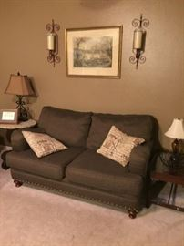 Love seat with nail head trim, end table with glass tray top