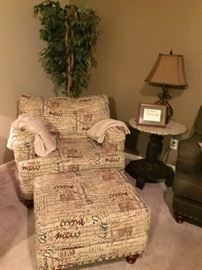Chair and 1/2 with ottoman, end table, lamp