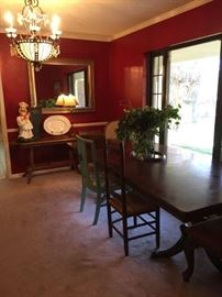 Oak sofa table, long dining table w/assorted chairs, large mirror