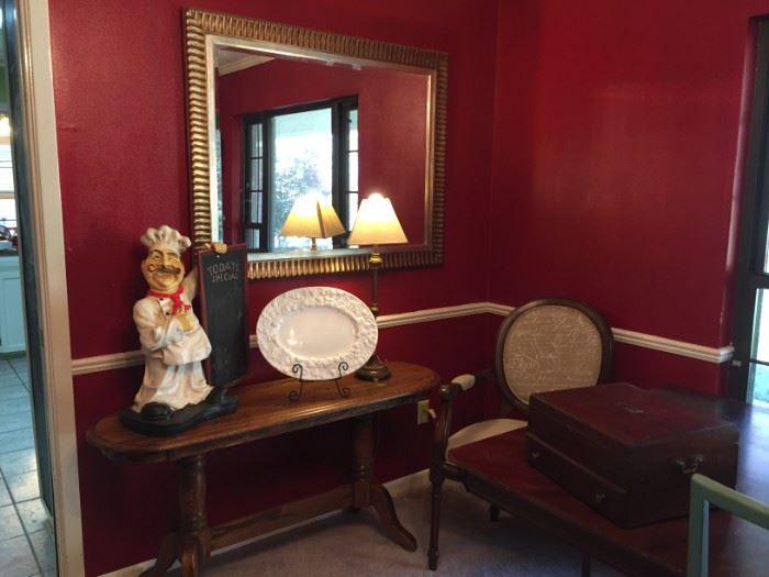 Silverware chest, Chef blackboard, large mirror, side chair, oak sofa table