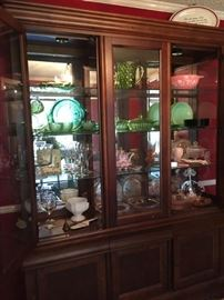 China cabinet with jadite plates, pink & green depression glass, set of 4 pink & white Cinderella Gooseberry Pyrex bowls