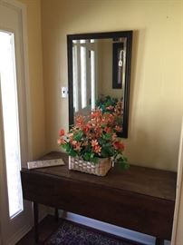 Drop leaf table, wall mirror