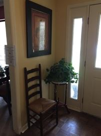 Fern stand, ladder back chair, picture
