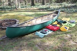"16 ft Old Town Canoe ""Camper"" model with wicker seats in very good condition. Fully loaded with gear."