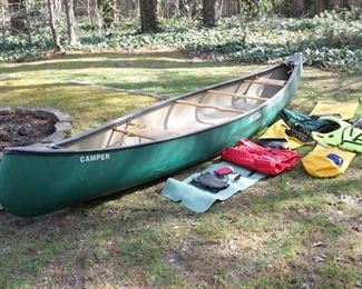 """16 ft Old Town Canoe """"Camper"""" model with wicker seats in very good condition. Fully loaded with gear."""