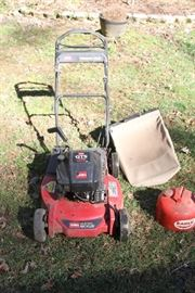 Toro GTS 6 hp self propelling mower with mulching and bagger. Includes metal gas can.