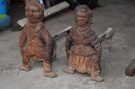 Antique Andirons with Figurine Ends - Rare!!!