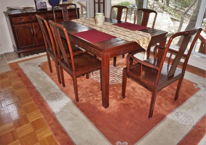 Asian style dining table and buffet