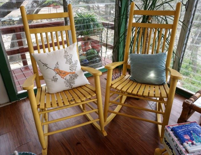 Pair of matching wooden rockers