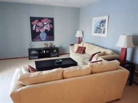 CREAM SOFAS - BAUHAUS  / END TABLES / LAMPS / ENTERTAINMENT STAND / COFFEE TABLE / ART WORK