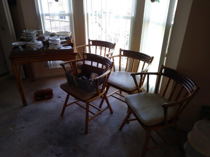 4 bamboo chairs