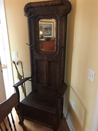 Antique Hall Tree / Mirror / Bench Unit $ 484.00