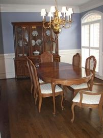 dining table with three leaves and china cabinet with removable top