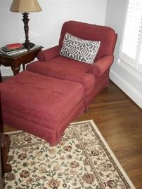 flame stitch chair and ottoman