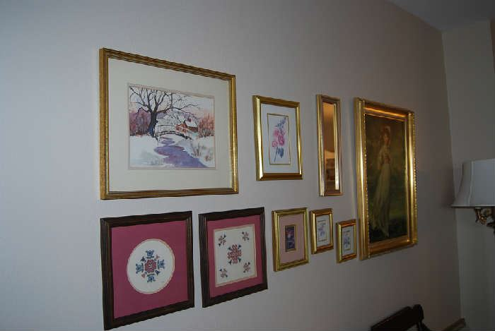 Framed Needlepoint and wall decor
