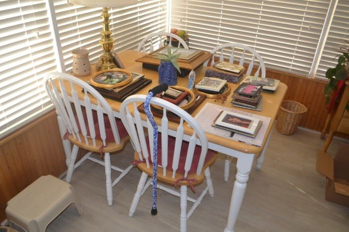 FARMHOUSE TABLE WITH 6 CHAIRS (4 PICTURED)