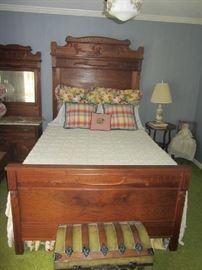 Antique Victorian Bedroom set, trunk, lamps, more