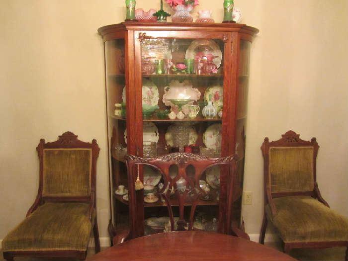 Antique Oak China / Curio Cabinet, beautiful glassware & china, Eastlake Chairs