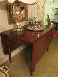 Drop Leaf Table with Barley Twist legs, Staffordshire style lamp, more