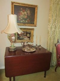 Drop Leaf Table w/Barley Twist, Antique painting, mirror, lamp, etc.