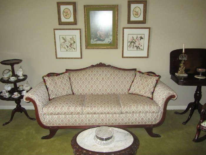 Excellent Victorian Settee, antique tables, more