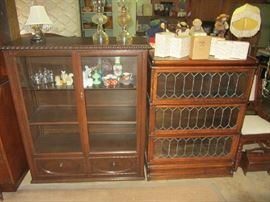 Beautiful Leaded Glass Attorney Bookcase, Glass Front Display Cabinet, Precious Moments, more!