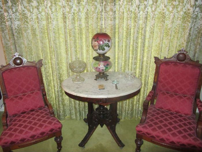 Marble Top Parlor Table, Hurricane Lamp, Eastlake Chairs, more