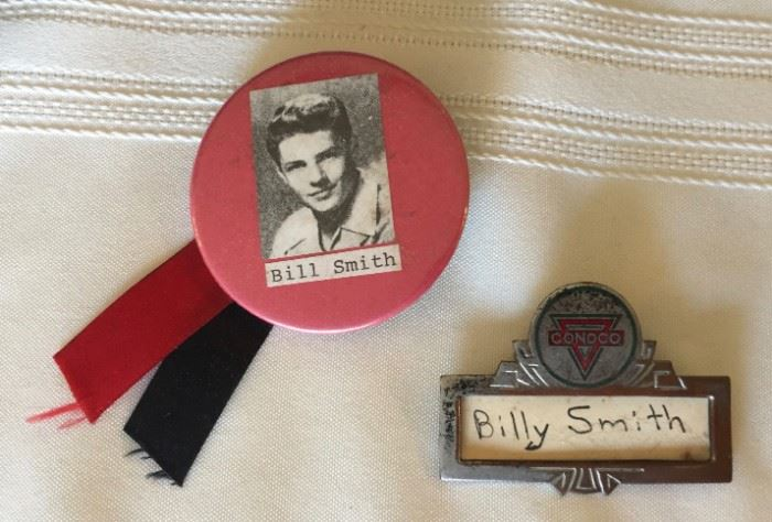 Bill Smith Button and Conoco Name Badge