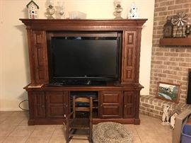Entertainment center with 47 inch flat screen TV