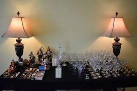 COSTUME JEWELRY, LAMPS, STEMWARE, EMMETT KELLY CLOWNS