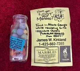 Antique porcelain marbles found during renovations for the 1996 Olympics in Atlanta, Georgia