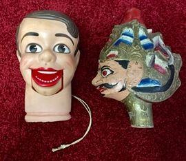 Vintage ventriloquist dummy head, Indonesian puppet head