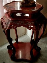 Red Lacquer and painted tall table