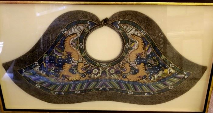 19th century Chinese embroidered collar-beautifully framed
