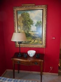 Vintage Mahogany Occasional Table with Drawer. Large Painting on Board, Light!