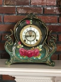German Bonn Porcelain Ansonia Mantle Clock