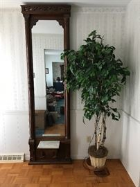 Antique Pier Mirror, Faux Ficus Tree