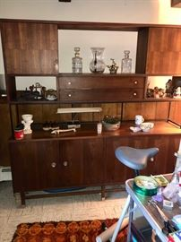 MCM credenza with two tone wood detail & sliding doors