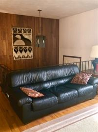 Vintage & Retro Northport home! Leather sofa, Mod light & woven wall hanging