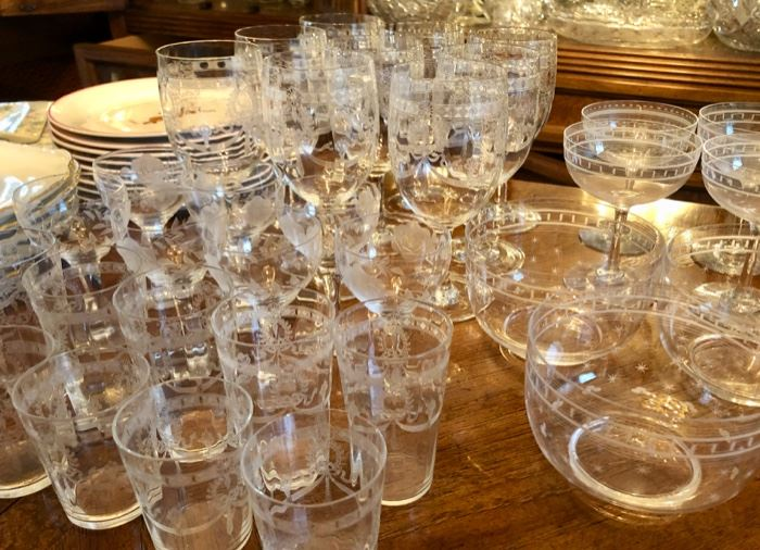 Lovely antique etched glassware