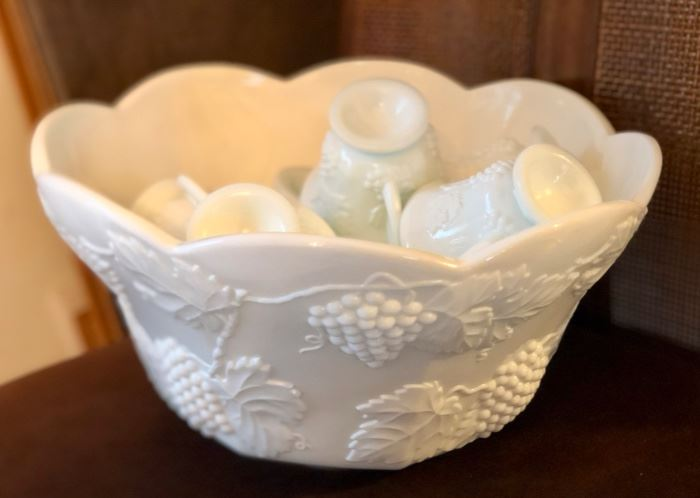 Fenton milk glass punch bowl & glasses