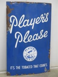 Players porcelain sign