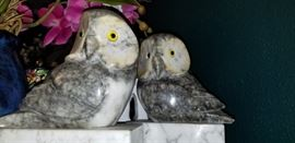 Marble Owl bookends