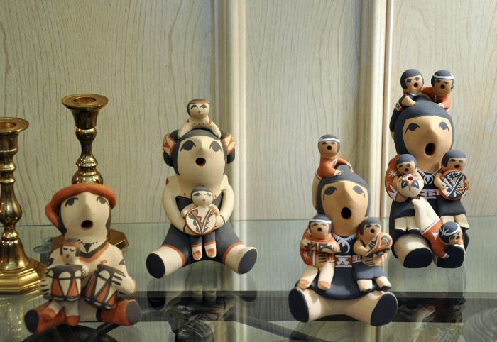 A group of Jemez Pueblo signed storytellers - a storyteller was purchased with each new grandchild