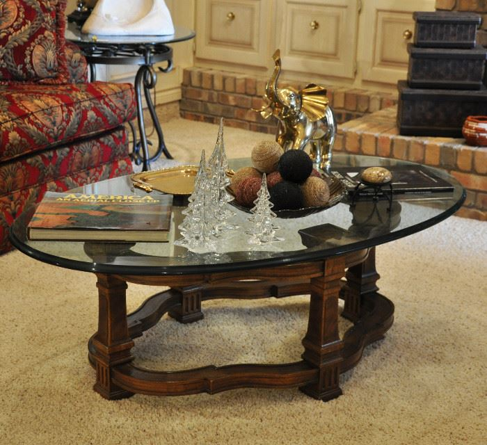 Coffee table features a large brass elephant and a set of Silvestri graduated crystal trees (they have boxes)