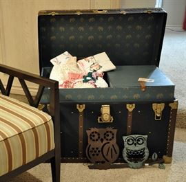 Professionally restored antique trunk with vintage and antique linens